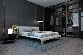 bedroom open wardrobe behind bed also frosted glass paneled wall