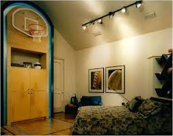 sports themed bedrooms with track lighting fixture for basket