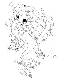 coloring pages of the little mermaid chibi little mermaid and her friends coloring page netart