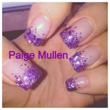 my new set of gel nails purple sparkles french tips nails and