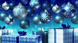 Christmas Decorations With Blue And Silver christmas balls and gifts loop blue and silver baubles and gift