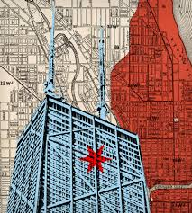 Chicago Fire Map by Hancock Building U0026 Chicago Map Art Art Art Pieces