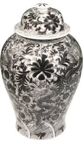 black and white ginger jar asian decorative jars and urns by