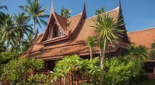 authentic sunset facing thai style beach villa real asia