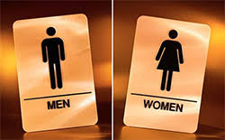 Mens And Womens Bathroom Signs Women In Construction Sanitary Facilities At The Construction