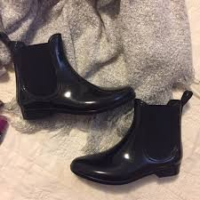 J Crew Ankle Boots 67 Off J Crew Shoes Black Shiny Rubber Ankle Boots Rain Boots
