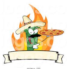 royalty free green pepper pizza chef vector logo by hit toon 1809