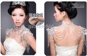 chain necklace dress images Luxury crystal shoulder knot bridal epaulet wedding accessories jpg