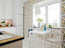 colorful kitchen wallpaper white cabonets island chair and pendant