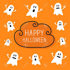free cute halloween background cute spooky ghosts happy halloween card cloud frame orange