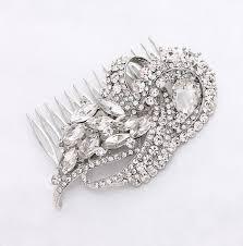 crystal silver bridal comb art deco wedding hair comb bridal