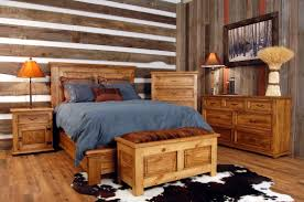 Western Bed Frames Rustic Oak Bedroom Furniture Diy Polished Wooden King Size