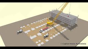 multi storey car park sequence of construction with crawler crane