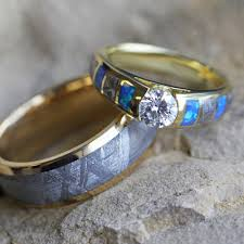 turquoise opal engagement rings unique gold wedding ring set diamond and opal ring with meteorite