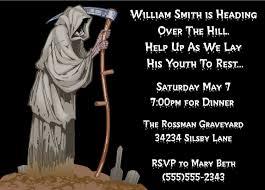 grim reaper over the hill birthday party invitations grim reaper