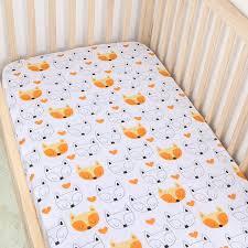 Muslin Crib Bedding Orange Fox Cotton Muslin Baby Fitted Crib Sheet Changyi City
