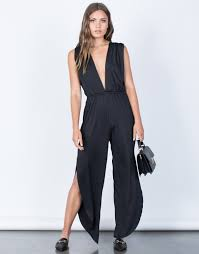 plunging jumpsuit plunging jumpsuit side slit jumpsuit flowy wide leg