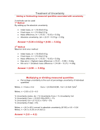 Accuracy Vs Precision Worksheet Answers Ib Chemistry On Uncertainty Error Calculation Random And Systematic