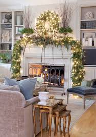 Holiday Home Decor Ideas The Living Room Mantle U0027s Lush Greenery Complements The Muted Baker
