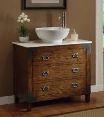 Old Barn Wood Bathroom Vanity Stainless Steel High Arm Faucet