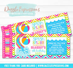free thank you cards girl pool party ticket birthday invitation printable thank you
