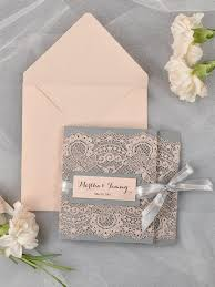 vintage wedding invites grey and lace wedding invitation pocket fold wedding
