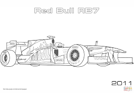 red bull rb7 formula 1 racing car coloring page free printable