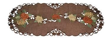gold u0026 burgundy roses on brown linen table runner mr tablecloth