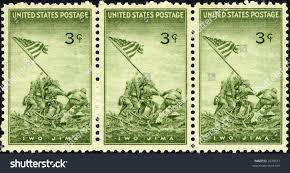 Soldiers Lifting Flag 1945 Us Stamp Commemorating Raising Flag Stock Photo 2078631