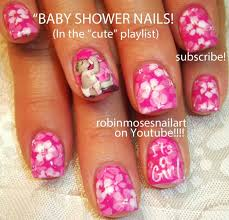 baby shower nails it u0027s a pink nail art design tutorial