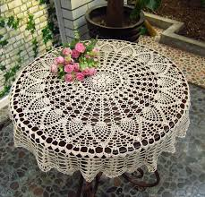 Coffee Table Cloth by Amazon Com New Beige 36 U0027 U0027 Round Handmade Crochet Sunflower Lace