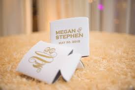 custom wedding koozies favors gifts photos gold white custom koozies inside weddings