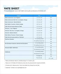 Sle Excel Spreadsheet Templates Rate Sheet Template 28 Images Rate Sheet Template 9 Free Word