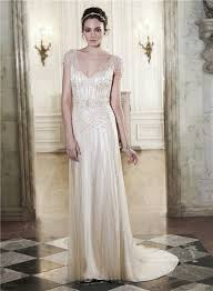 beaded wedding dresses sheath v neck open back chagne satin tulle beaded wedding dress