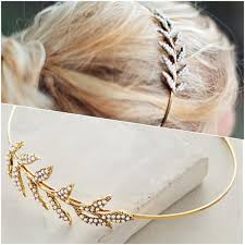 metal headband anthropologie accessories gold pearl grecian leaf thin metal