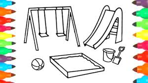 playground coloring page art colours for kids youtube