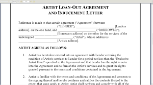 Contract Letter Of Intent Template by Artist Loan Out Agreement And Inducement Letter Youtube