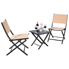 Outdoor Bistro Chairs 3 Pcs Folding Bistro Outdoor Table Chairs Outdoor Furniture Sets