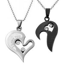 couples necklace stainless steel necklace sets i you heart