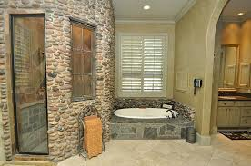 river rock bathroom ideas craftsman master bathroom with drop in sink quartz counters in