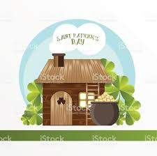leprechaun house and the pot with golden coins stock vector art