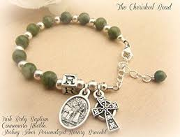 personalized rosary baby connemara marble and silver personalized