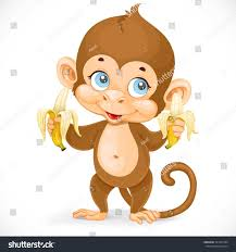cute baby monkey two bananas stand stock vector 341927204