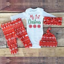 christmas sets 2017my christmas baby boy print tops romper clothes