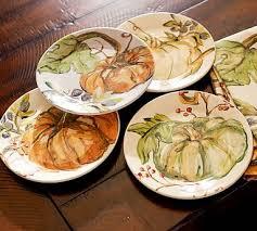 harvest pumpkin salad plates mixed set of 4 autumn
