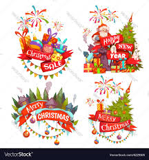 merry christmas banner merry christmas banner set with santa claus vector image