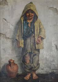 edith m s scannell 1852 1940 an oil sketch of a street urchin