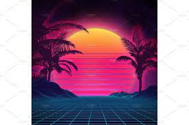retro background futuristic landscape 1980s style digital retro