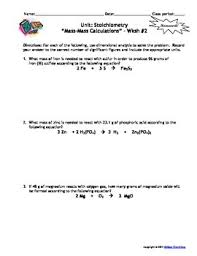 stoichiometry homework worksheets set of 7 with answer keys