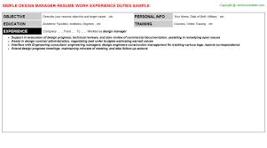 Resume Simple Design Design Manager Resume Sample